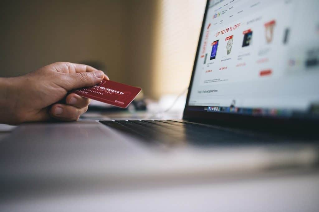 person looks at online shop while holding a credit card
